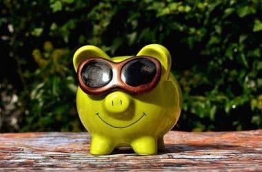 L'argent ne fait pas le bonheur. Un cohcon tirelire avec des lunettes de soleils.