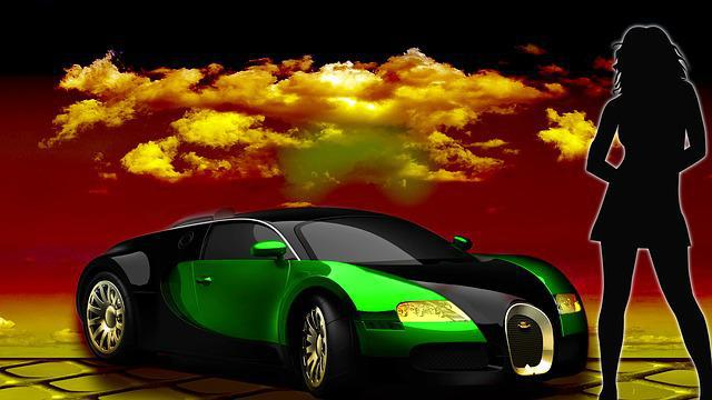 L'argent ne fait pas le bonheur ? Le clichés de la voiture de sport et de la femme sexy.