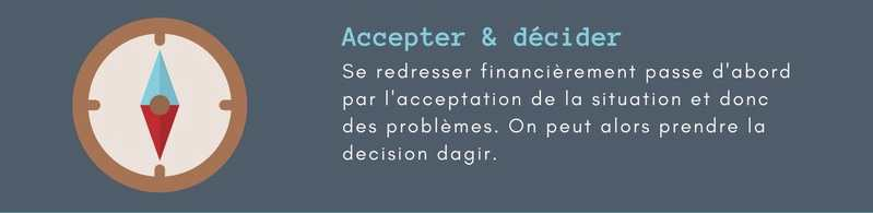 Redresser une situation financiere difficile. Accepter et décider.