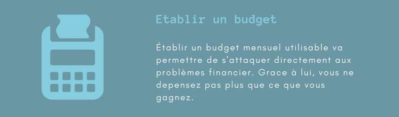 Redresser une situation financiere difficile. Établir un budget.
