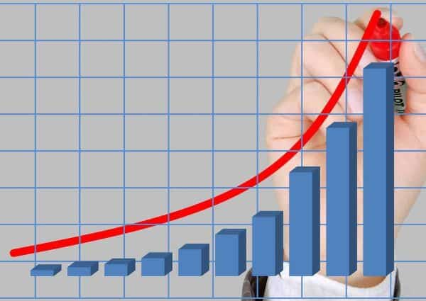 Gagner plus d'argent. Un graphique avec une courbe qui augment de plus en plus.