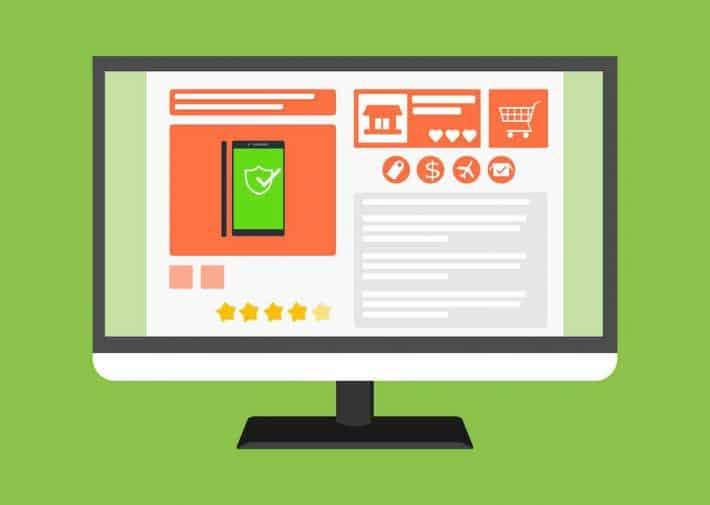 Le cashback comment ça fonctionne. Un écran d'ordinateur avec un site de e.Commerce.