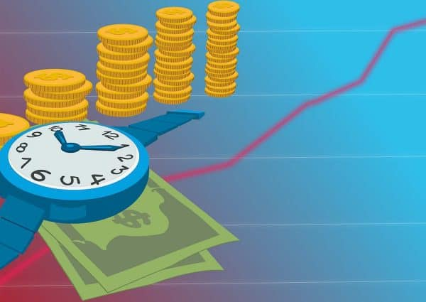 7 conseils pour investir. Des billets de banques, de pièces de monnaie, une montre et un graphe qui augmente.