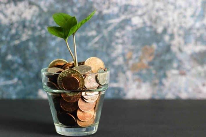 Mutuelle santé/ Un pot de pièces de monnaie dans lequel pousse une plante.