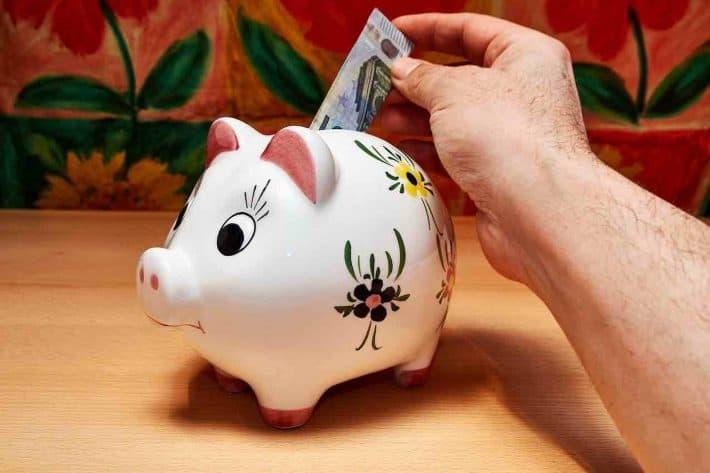 Comment protéger son épargne. Un cochon tirelire pour mettre des billets de banque.