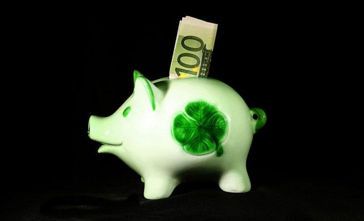 Capacité d'épargne. Petit cochon tirelire avec billets de banque dedans.